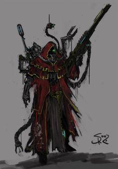 Techpriest Sniper by on DeviantArt Character Concept, Character Art, Concept Art, Character Design, Warhammer 40k Art, Warhammer Models, Mad Max, Shadowrun, Dark Ages
