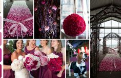 """An ombre of rose petals create a stunning """"red carpet"""" that leads up to a classic chuppah that has been transformed with hundreds of roses and dramatic curly willow. Monochromatic bridesmaids bouquets are the perfect compliment to the bride's grand yet girlish bouquet."""