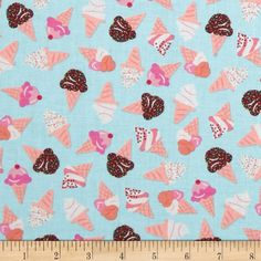 Kanvas What's The Scoop Soft Serve Aqua from @fabricdotcom  Designed by Greta Lynn for Kanvas Studios in association with Benartex, this cotton print is perfect for quilting, apparel and home decor accents.  Colors include white, aqua, brown, pink, coral and peach.