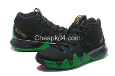 buy online 5661c 2fbfd 2018 Nike Kyrie 4 BHM Nero Verde Rosso Metallic Gold, Where To Acquistare  Basketball Scarpe