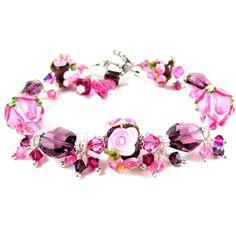 RESERVED Purple & Pink Floral Bracelet, Pink Rose Bracelet, Lampwork... ($136) ❤ liked on Polyvore featuring jewelry, bracelets, pink bead bracelet, glass bead bracelet, swarovski crystal bracelet, glass bead jewelry and flower bracelet