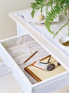 maps as drawer liners