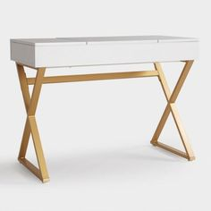 White Wood And Metal Mara Vanity Desk With Gold X Legs So Chic