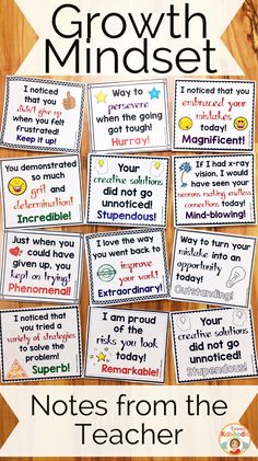 Do you teach your students about growth mindset? These notes from the teacher are the perfect complement to my other growth mindset products, including affirmation posters, flip books, and a growth mindset privacy office!  Easy to use for teachers and very beneficial for students, these rewarding notes will reinforce your students for incorporating growth mindset concepts into their daily lives. #growthmindset #growthmindsetnotes #notesfromtheteacher