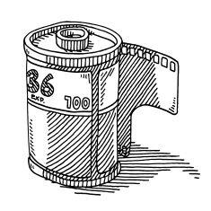 Film Roll 35mm Photography Drawing vector art illustration