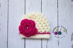Crochet baby girl puff stitch hat crochet by Stephyscrochet, $20.00