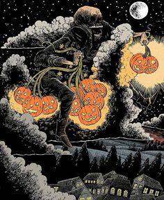 sam heimer Halloween Artwork, Halloween Prints, Halloween 2016, Halloween Wallpaper, Halloween Horror, Vintage Halloween, Halloween Illustration, Arte Horror, Horror Art