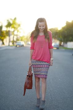 hot pink top + brightly-colored aztec-print pencil skirt + gray booties + cognac purse just alittle longer skirt