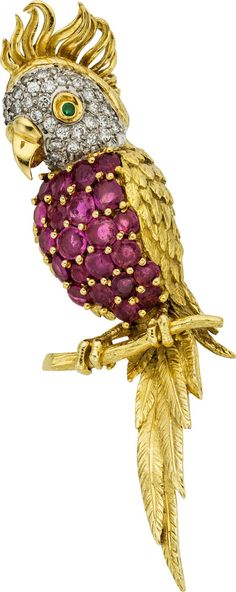 Estate Jewelry:Brooches - Pins, Diamond, Ruby, Emerald, Gold Pendant