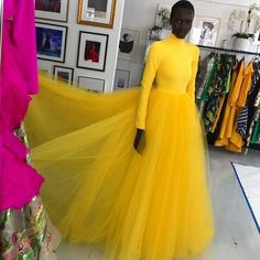 Yellow Tulle Long A Line Evening Dress, Long Prom Dress 1942 A Line Evening Dress, Evening Dresses, Prom Dresses, Formal Dresses, Christian Siriano, Different Fabrics, High Waisted Skirt, Dress Long, Celebrity Closets