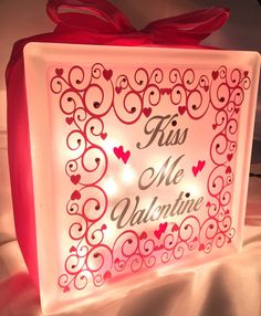Valentine Décor or Custom Wedding Design, I can add your names and wedding date to personalize.  Wedding Centerpiece. Glass Block Light or Night by LiveLaughLoveOcean