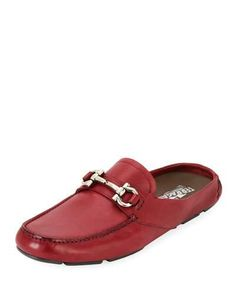 N505P Salvatore Ferragamo Leather Gancini-Bit Mule Slide, Red