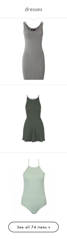 """""""dresses"""" by pimpdaddyk ❤ liked on Polyvore featuring dresses, grey, gray dress, fitted dresses, low cut dresses, grey dress, khaki, swimwear, one-piece swimsuits and green"""