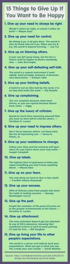 """Life Tips on Twitter: """"http://t.co/jE8Cacp1jj"""" Things to give up if you want to be happy."""