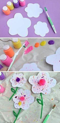 lavoretti-bambi-fiori-carta-decorati-tempera-spazzolino-denti-pompons-colorato-centro