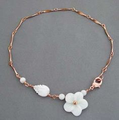 ankle braclets pictures | White Flower Leaf Ankle Bracelet Copper Anklet Jewelry