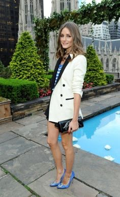 cream/black tuxedo jacket, periwinkle blue striped top, shoes w/black clutch