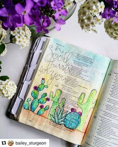 When you're studying this weekend, ponder a thirsty soul; what does that mean? How will God satisfy your needs? Love this post by @bailey_sturgeon Cacti survive during the driest conditions. In life, sometimes we go through those dry times... with God, we thrive!! (Love how she set up her photo around the flowers! Gorgeous) #craftedword #repostedfromtag #Repost @bailey_sturgeon (via @repostapp) ・・・ #illustratedfaith #biblejournalingcommunity #craftedword #biblejournaling