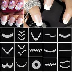 New Fashion 18 Sheets/Set French Style Nail Manicure DIY Nail Art Tips Guides Nail Art Stickers Stencil Strip #M01615 #Manicures Nail http://www.ku-ki-shop.com/shop/manicures-nail/new-fashion-18-sheets-set-french-style-nail-manicure-diy-nail-art-tips-guides-nail-art-stickers-stencil-strip-m01615/ #ManicureDIY