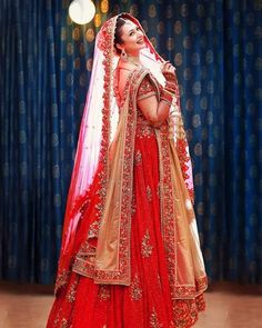 Traditional Bridal Beauty in Bright Red Lehenga