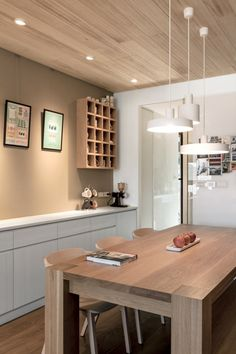 Modern Apartment Celebrates the Look of Natural Wood 00016 - Architectism - We Love Building Modern Apartment Design, Contemporary Apartment, Modern Apartments, Design Furniture, Home Furniture, Muji Home, Rustic Room, Round Dining Table, Dining Sets
