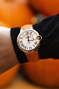 Silver guilloche dial with black Roman numerals. Orange Cartier strap with Rose gold tang buckle. Pre-owned with Cartier box . Cartier Ballon Bleu, Tank Watch, Fine Watches, Timeless Beauty, 18k Rose Gold, Cartier Watches, Jewels, Roman Numerals, Lady