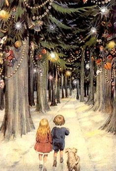 one of my all time favorite pictures Vintage Victorian children dog Christmas forest trees decorations decorated, boy girl and dog forest woods path walking Christmas Scenes, Noel Christmas, Retro Christmas, Christmas Greetings, Winter Christmas, Christmas Postcards, Magical Christmas, Christmas Wonderland, Christmas Puppy