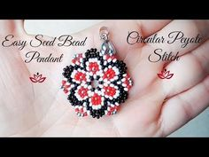 Flower peyote stitch pendant - tutorial - YouTube