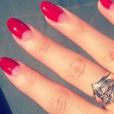 Red 50's style half moon manicure