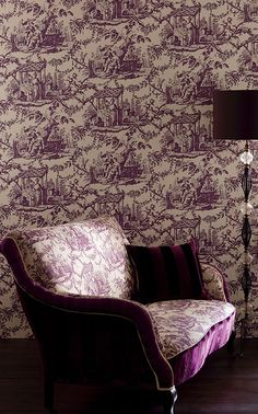 Rococo Toile Wallpaper Large scale chinese toile de jouy wallpaper in brown on cream