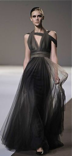 Elie Saab ombre black couture gown.  Amazing sheer dress