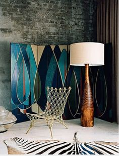 Oh, that floor lamp!  Decadent painted floor divider.