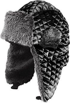 ac42b72bb29 LL Winter Trooper Trapper Hat Faux Fur Ear Flap Aviator Ushanka LargeX  Large Black Satin