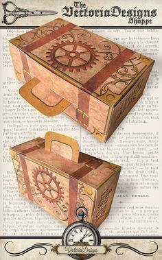 Steampunk Suitcase Box Printable diy gift box by VectoriaDesigns