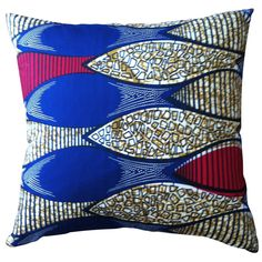 African Textile Pillow  Africa  20th Century  Beautiful and vibrant African textile pillow love it! #ecrafty