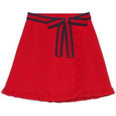 Gucci Wraparound Skirt With Web ($750) ❤ liked on Polyvore featuring skirts, red, jersey wrap skirt, red jersey, red wrap skirt, flouncy skirt and frilly skirts