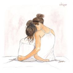 "Mother/Daughter Whispers (Illustration Friday Topic ""Whisper"")"