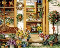 Image result for watercolor garden shop paintings