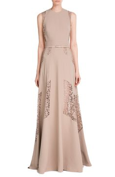 Floor-Length Gown with Lace look detail