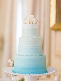 Blue ombre wedding cake: http://www.stylemepretty.com/2014/11/17/elegant-summer-wedding-at-crane-estate/ | Photography: Jillian Mitchell - http://jillianmitchell.net/