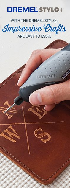 The secret to amazing homemade gifts and easy crafts is at your fingertips with the Dremel Stylo+. Leather Diy Crafts, Leather Projects, Wood Crafts, Leather Craft Tools, Dremel Werkzeugprojekte, Dremel Wood Carving, Easy Diy Crafts, Crafts To Make, Easy Crafts