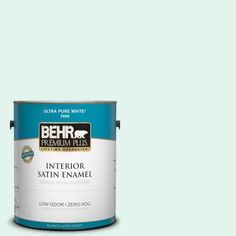 BEHR Premium Plus 1-gal. #480C-1 Light Mint Zero VOC Satin Enamel Interior Paint-705001 at The Home Depot