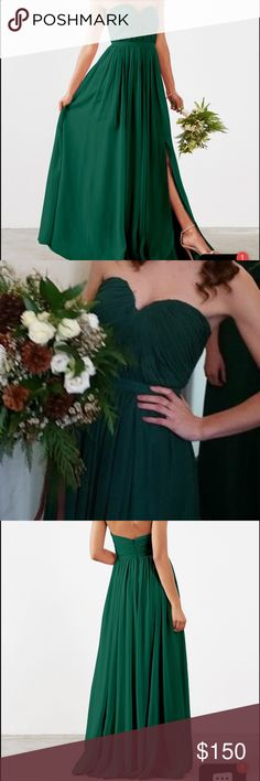 """Green chiffon bridesmaid dress Green chiffon. Size 4 . I'm a 34b 27 waist and it fits perfectly I wore flats with this dress I'm 5'6 so if you plan on wearing flats or you are much shorter this would be a good length for you! This has been purchased from """" weddington way """" not Alfred Angelo . It is an emerald green. Like most bridesmaids dresses it was worn for one day! Could be a prom dress comes with optional straps David's Bridal Dresses Wedding"""
