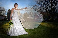 The Bridal Veil at Stirk House Hotel, Gisburn, Lancashire.Lencarta Safari Classic just to my right, firing through a folding Octa Veil, One Shoulder Wedding Dress, Safari, Wedding Photos, Wedding Photography, Weddings, Bridal, Portrait, Wedding Dresses