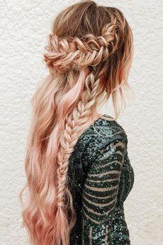 Half-up fishtail braid wedding hairstyle Tutorial here: https://www.luxyhair.com/blogs/hair-blog/fishtail-half-updo-hairstyle