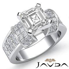 Fine Asscher Diamond Splendid Engagement Ring EGL E VS1 Clarity Platinum 2 96 Ct | eBay