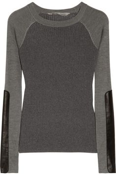 Reed Krakoff | Leather-trimmed merino wool and silk sweater | NET-A-PORTER.COM