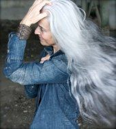Yasmina Rossi and her mane of gray hair