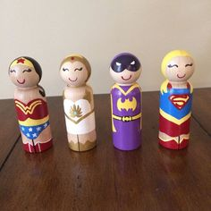This listing is for one (1) girl superhero peg doll. The dolls measure approximately 3 1/2 tall. They are painted with non toxic acrylic