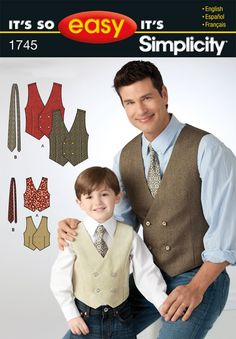 Simplicity 1745 (It's So Easy It's Simplicity) Waistcoats and ties. £4.05